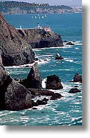 bonita, california, coastline, days, lighthouses, marin, marin county, north bay, northern california, pacific ocean, point, point bonita, san francisco bay area, scenics, vertical, water, west coast, western usa, photograph
