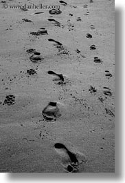 beaches, black and white, california, footprints, marin, marin county, materials, north bay, northern california, sand, vertical, west coast, western usa, photograph