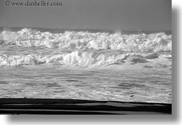 beaches, black and white, california, horizontal, marin, marin county, north bay, northern california, ocean, rocks, waves, west coast, western usa, photograph