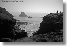 bear valley trail, black and white, bluff, california, hikers, horizontal, ledge, marin, marin county, north bay, northern california, shoreline, west coast, western usa, photograph