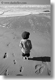 beaches, black and white, california, downview, jack jill, jacks, marin, marin county, north bay, northern california, ocean, people, perspective, vertical, west coast, western usa, photograph