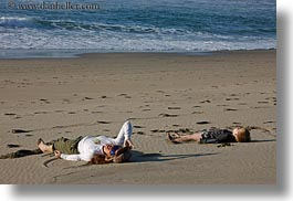 beaches, california, horizontal, jack and jill, jack jill, lying, marin, marin county, north bay, northern california, people, west coast, western usa, photograph