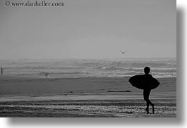 black and white, california, childrens, haze, horizontal, marin, marin county, north bay, northern california, people, surfboard, west coast, western usa, photograph