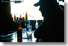 baseball cap, beers, california, chaser, clothes, drinks, foods, hats, horizontal, marin, marin county, north bay, northern california, pt reyes station, silhouettes, west coast, western usa, photograph