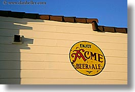 acme, ale, beers, california, colors, horizontal, marin, marin county, nicks cove, north bay, northern california, signs, tomales bay, west coast, western usa, yellow, photograph