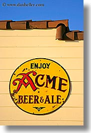 acme, ale, beers, california, colors, marin, marin county, nicks cove, north bay, northern california, signs, tomales bay, vertical, west coast, western usa, yellow, photograph