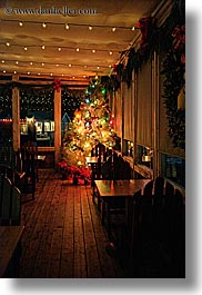 california, christmas, cove, decorations, dusk, events, lights, marin, marin county, nicks, nicks cove, north bay, northern california, restaurants, tomales bay, vertical, west coast, western usa, photograph