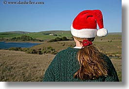 animals, california, christmas, colors, cows, events, green, hats, horizontal, jills, marin, marin county, north bay, northern california, people, red, santa, tomales bay, west coast, western usa, womens, photograph