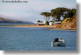 bay, blues, boats, california, colors, horizontal, houses, marin, marin county, nature, north bay, northern california, tomales, tomales bay, transportation, water, west coast, western usa, photograph