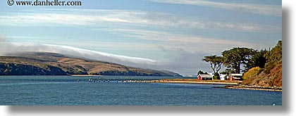 bay, blues, california, colors, horizontal, houses, marin, marin county, nature, north bay, northern california, panoramic, tomales, tomales bay, water, west coast, western usa, photograph