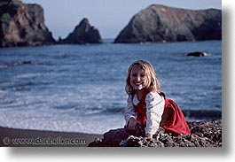 california, dresses, girls, horizontal, marin, marin county, north bay, northern california, red, rodeo beach, san francisco bay area, west coast, western usa, photograph