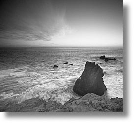 black and white, california, coast, horizontal, marin, marin county, north bay, northern california, pacific, rodeo beach, san francisco bay area, slow exposure, sunsets, west coast, western usa, photograph
