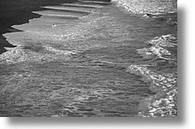 black and white, california, horizontal, marin, marin county, north bay, northern california, rodeo, rodeo beach, san francisco bay area, surfers, waves, west coast, western usa, photograph