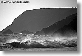 black and white, california, horizontal, marin, marin county, north bay, northern california, rodeo, rodeo beach, san francisco bay area, waves, west coast, western usa, photograph
