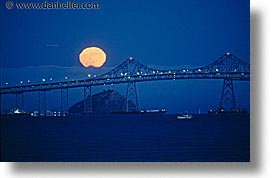 bridge, california, full moon, horizontal, marin, marin county, moon, moonrise, nite, north bay, northern california, san francisco bay area, san rafael, water, west coast, western usa, photograph