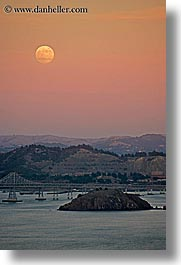 bridge, california, marin, marin county, moonrise, north bay, northern california, san francisco bay area, san rafael, vertical, west coast, western usa, photograph