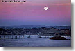 bridge, california, horizontal, marin, marin county, moonrise, north bay, northern california, san francisco bay area, san rafael, west coast, western usa, photograph