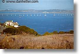 bridge, california, horizontal, houses, marin, marin county, mountains, north america, north bay, northern california, ring mountain, rings, san francisco bay area, united states, west coast, western usa, photograph
