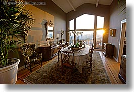 california, dining, dining room, horizontal, marin, marin county, north bay, northern california, rooms, san anselmo, sunsets, tomahawk, west coast, western usa, photograph