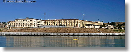 california, horizontal, kayaks, marin, marin county, north bay, northern california, panoramic, prison, quentin, san francisco bay area, san quentin, west coast, western usa, photograph