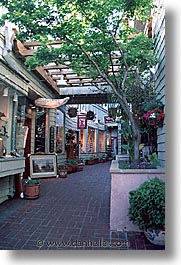 california, courtyard, marin, marin county, north bay, northern california, san francisco bay area, sausalito, shops, vertical, west coast, western usa, photograph