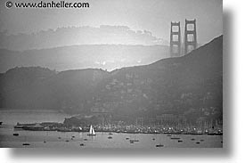 black and white, boats, bridge, california, horizontal, marin, marin county, north bay, northern california, san francisco bay area, sausalito, west coast, western usa, photograph
