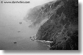 black and white, california, coastline, foggy, horizontal, marin, marin county, north bay, northern california, pacific ocean, san francisco bay area, scenics, shoreline, water, west coast, western usa, photograph