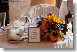 california, flowers, horizontal, marin, marin county, north bay, northern california, stinson beach, tables, wedding, west coast, western usa, photograph