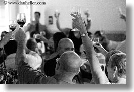 black and white, california, glasses, groups, horizontal, marin, marin county, north bay, northern california, reception, stinson beach, toasting, wedding, west coast, western usa, wines, photograph