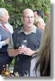 bald, california, glasses, marin, marin county, men, north bay, northern california, people, reception, stinson beach, vertical, wedding, west coast, western usa, wines, photograph