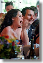 california, laughing, marin, marin county, north bay, northern california, reception, stinson beach, vertical, wedding, west coast, western usa, womens, photograph