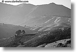 black and white, california, cottage, green, green gulch, gulch, hills, hope cottage, horizontal, marin, marin county, marin headlands, mount tamalpais, mountains, north bay, northern california, san francisco bay area, tennessee, west coast, western usa, photograph