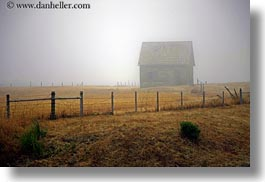 barn, buildings, california, fences, fog, horizontal, mendocino, nature, west coast, western usa, photograph