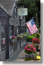 american, buildings, cafes, california, flags, flowers, mendocino, vertical, west coast, western usa, photograph