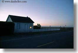 buildings, california, dusk, fences, horizontal, houses, mendocino, slow exposure, west coast, western usa, photograph