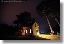 buildings, california, colors, horizontal, houses, illuminated, long exposure, mendocino, nite, west coast, western usa, yellow, photograph