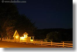 buildings, california, horizontal, houses, illuminated, long exposure, mendocino, nite, west coast, western usa, photograph