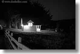 black and white, buildings, california, horizontal, houses, illuminated, long exposure, mendocino, nite, west coast, western usa, photograph