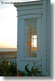 buildings, california, mendocino, sunsets, vertical, west coast, western usa, windows, photograph