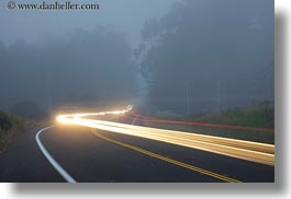 blues, california, car headlights, cars, colors, fog, headlights, horizontal, light streaks, long exposure, mendocino, motion blur, streets, west coast, western usa, white, photograph