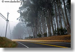 california, car headlights, cars, colors, fog, green, headlights, horizontal, light streaks, long exposure, mendocino, motion blur, streets, telephone wires, west coast, western usa, white, photograph