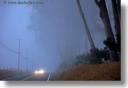 california, car headlights, cars, colors, fog, headlights, horizontal, mendocino, streets, telephone wires, west coast, western usa, white, photograph