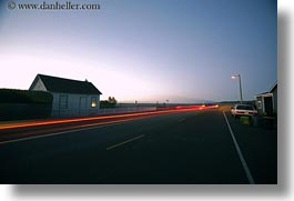 california, car headlights, cars, dusk, horizontal, houses, light streaks, long exposure, mendocino, west coast, western usa, photograph