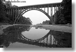 black and white, bridge, california, coastline, horizontal, mendocino, reflections, west coast, western usa, photograph