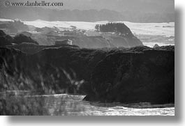 black and white, california, cliffs, coastline, horizontal, houses, mendocino, west coast, western usa, photograph