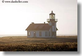 buildings, cabrillo, california, days, fields, fog, haze, horizontal, lighthouses, mendocino, structures, west coast, western usa, photograph