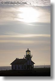 buildings, california, days, lighthouses, mendocino, silhouettes, structures, sun, vertical, west coast, western usa, photograph