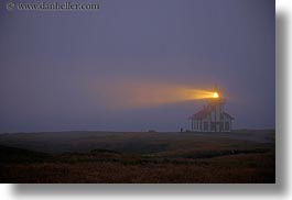buildings, california, dusk, horizontal, lightbeam, lighthouses, lights, mendocino, slow exposure, structures, west coast, western usa, photograph