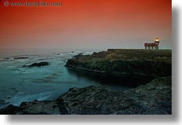 blues, buildings, california, colorful, colors, dusk, horizontal, lighthouses, long exposure, mendocino, nature, ocean, red, sky, structures, sun, sunsets, west coast, western usa, photograph