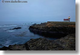 blues, buildings, california, colors, dusk, horizontal, lighthouses, long exposure, mendocino, ocean, structures, west coast, western usa, photograph